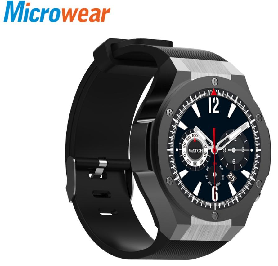 Microwear H2 android ios 1 г + 16 ГБ Смарт часы 1,39 дюймов mtk6580 SmartWatch телефон Wi-Fi gps 4 ядра 5.0MP Камера сердечного ритма часы