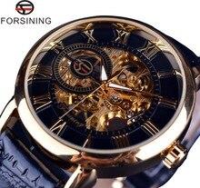 Forsining 3d Logo Design Hollow Engraving Black Gold Case Leather Mechanical Skeleton Watches Men Luxury Brand Heren Horloge