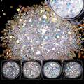 1 Set 4 Colors Laser Nail Sequins Tips Sparkly Colorful Glitter Paillettes Manicure Nail Art Decorations Accessories