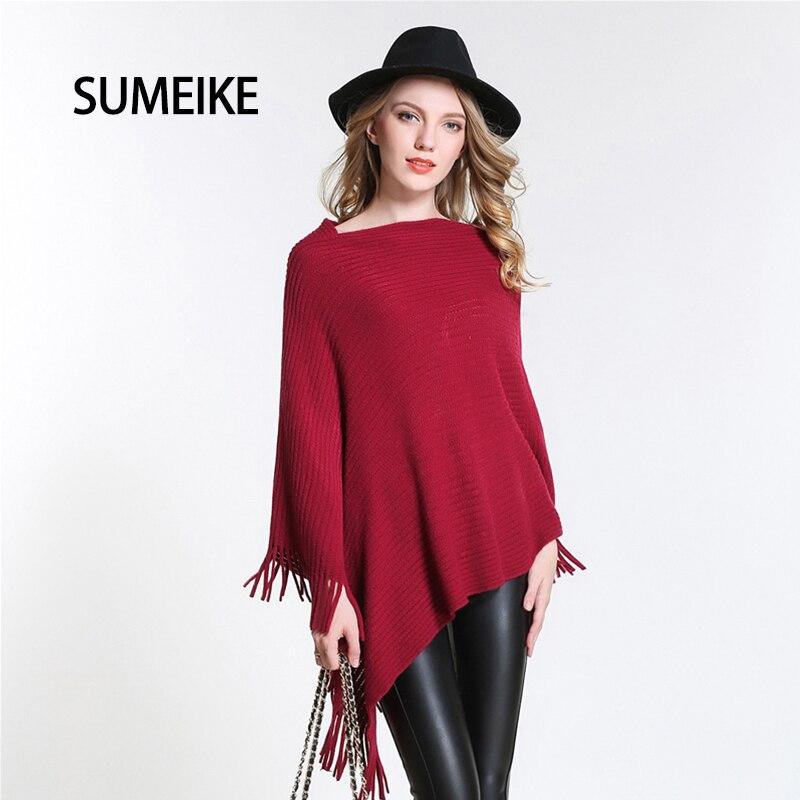 46d20b308832 SUMEIKE Nouveau 2018 Designer Marque Poncho Femmes Écharpes Vin Rouge À La Mode  Châles Et Foulards