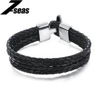 Punk Multilayer Handmade Male Leather Bracelets Delicate Stainless Steel Anchor Buckle Men Accessories For Father S