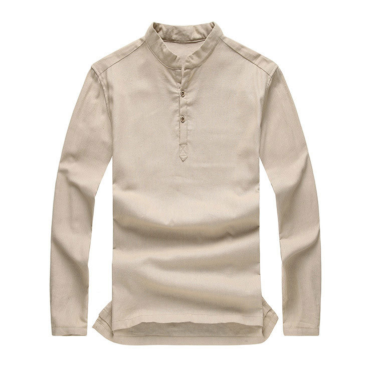 Asian Fashion Mens Pullover Shirt Longsleeve Linen Shirts