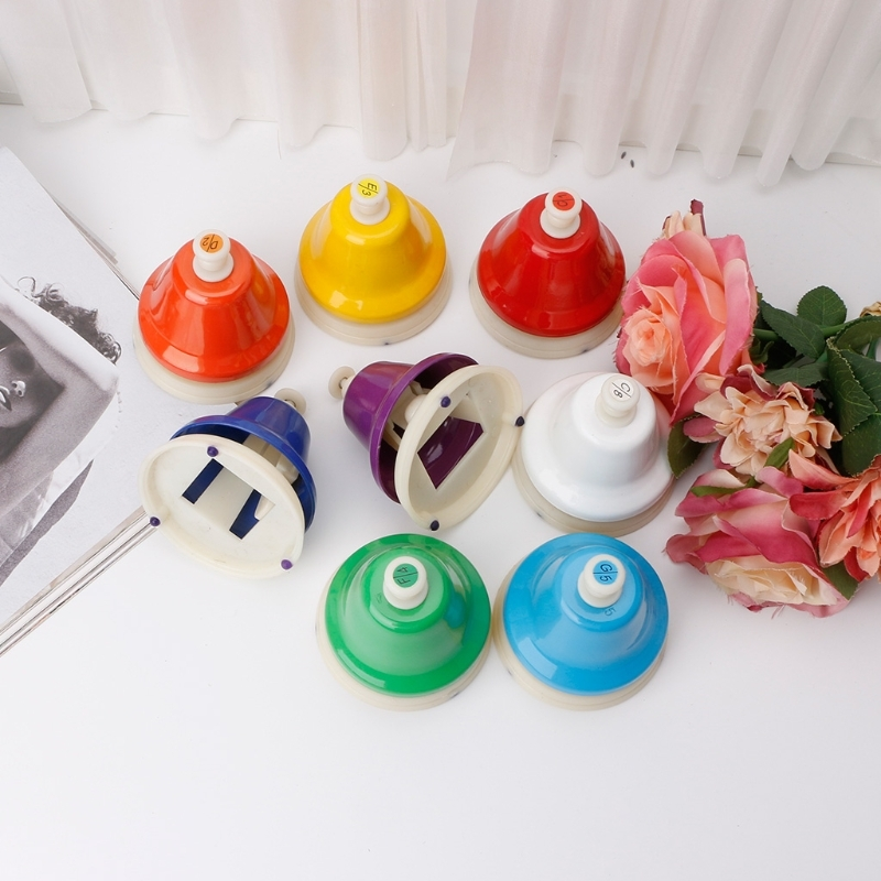 лучшая цена 8 Pcs/set 8 Notes Colorful Hand Bell Musical Toy Set for Children Baby Early Education