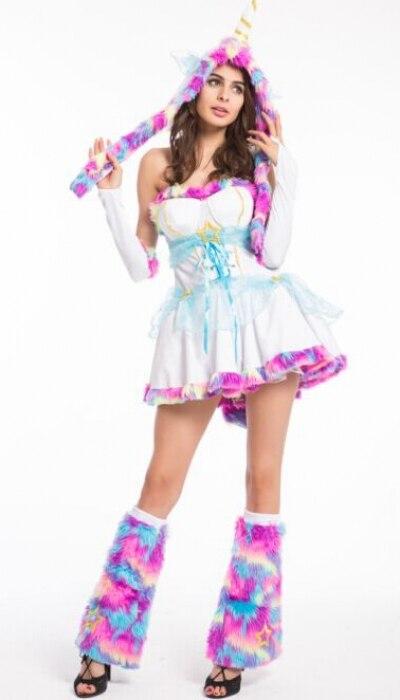 Сексуальный костюм с изображением животных радуги, женское мини платье с фуристой шляпой, чехол для ног, наряд на Хэллоуин, костюм для взрос