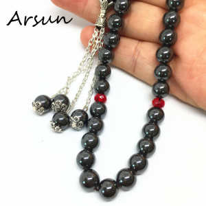 Image 5 - 100% Original Natural Hematite Stone Muslim 33 Prayer Beads Islamic Tasbih Allah Prayer Rosary Tesbih Islam Misbaha