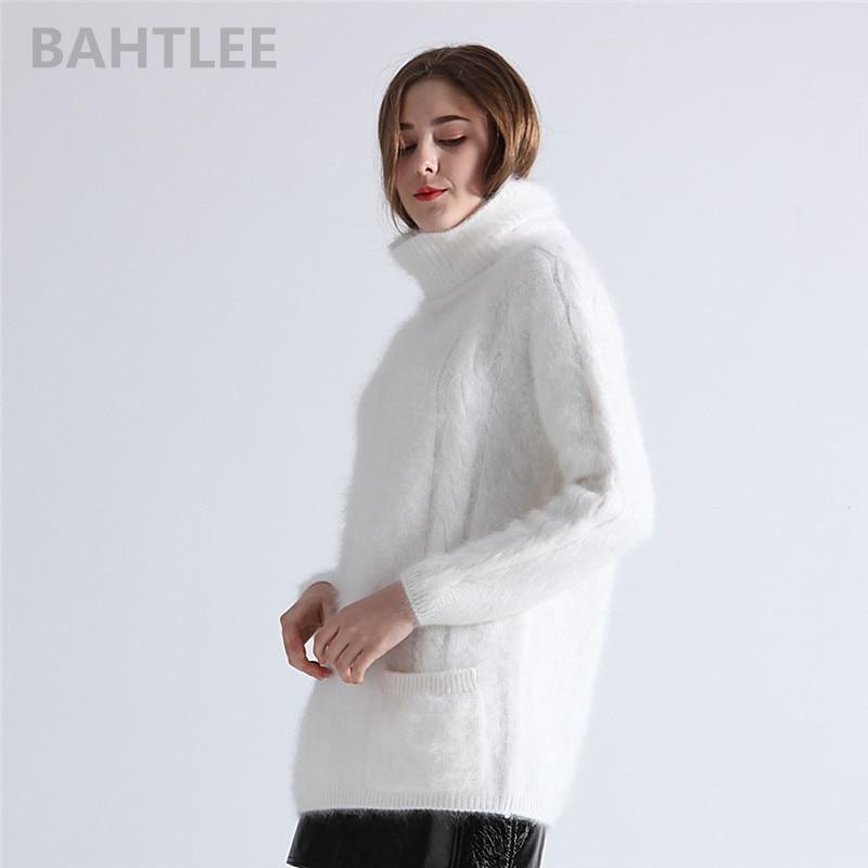 Bahtlee 겨울 여성 앙고라 풀오버 점퍼 스웨터 터틀넥 밍크 캐시미어 뜨개질 포켓 긴 소매 따뜻한 루스 피어 유지-에서풀오버부터 여성 의류 의  그룹 3