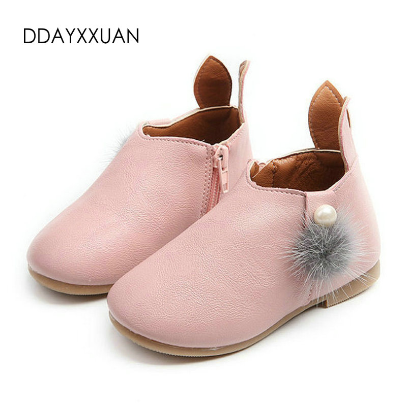 Princess Girls Boots Autumn Rabbit Baby Shoes PU Leather Flat Toddler Shoes Outdoor Fashion Boots Girls Kids Sneakers size 21-30
