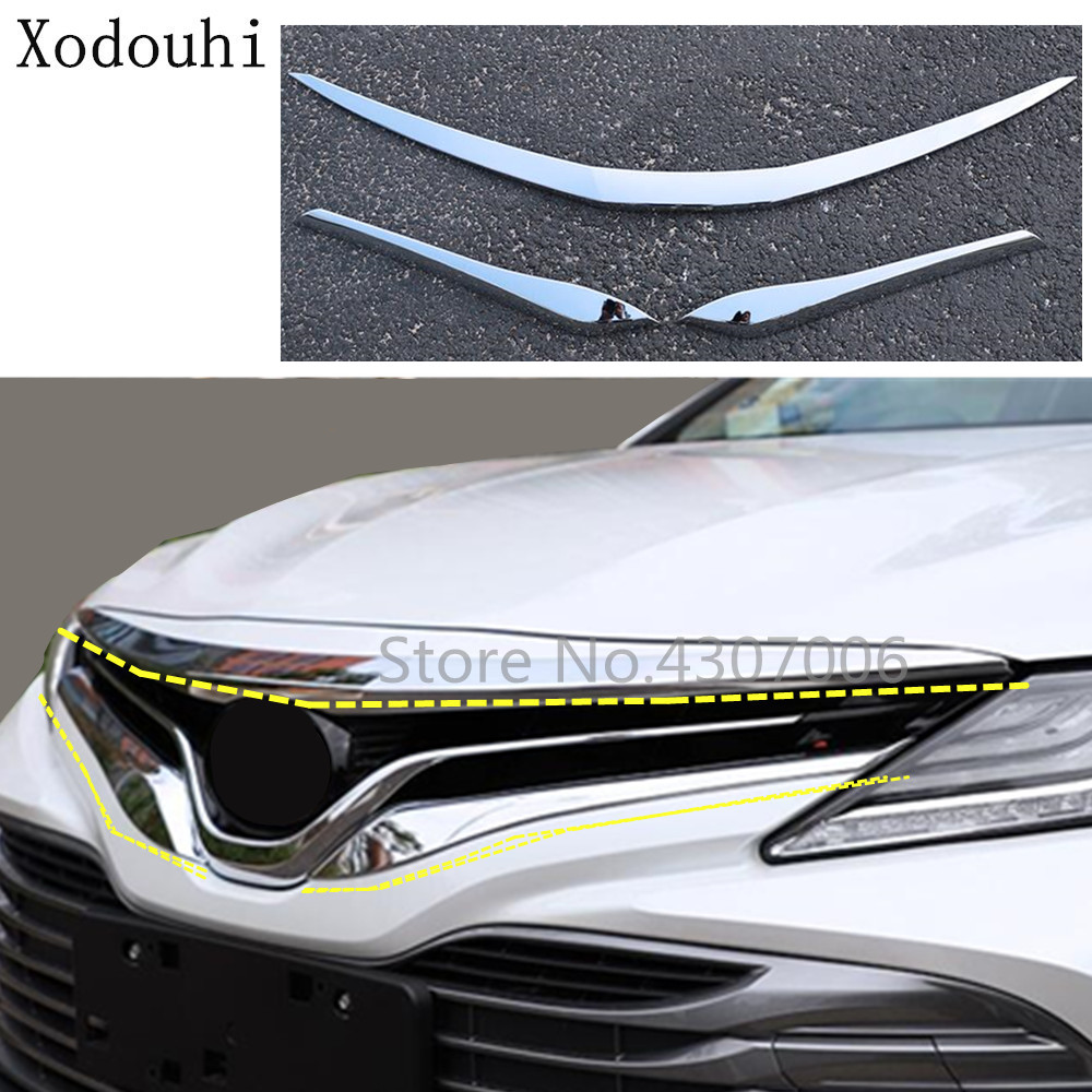 3PCS Silver Chrome Front Hood Grille Grid Cover Trim For TOYOTA CAMRY 2018
