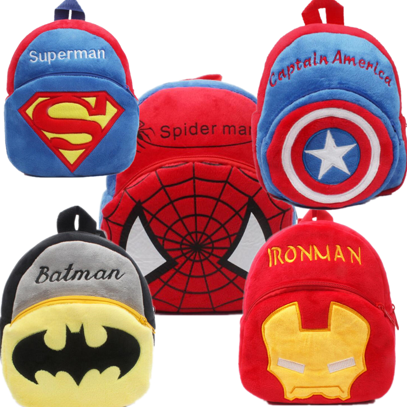 Movie Superhero Spider Man Superman Iron Man Toddler Kids Children Boy Girl Schoolbag Backpack Student Shoulder Plush Bag