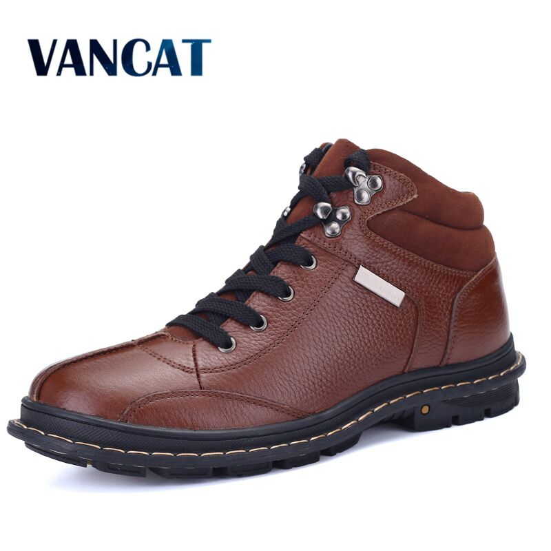 VANCAT Full Grain leather Men Boots Plus Size New style Handmade Warm Men Winter Shoes Snow Boots Lace-Up Outdoor Winter Boots new arrival plus size 40 41 popular shoes full grain leather boots high quality retro style round toe women boots free shipping