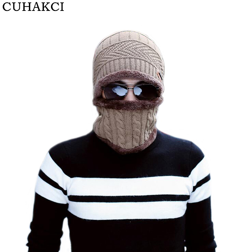 CUHAKCI 2017 New Knitted Hat Fashion Beanies Knit Men's Winter Caps Neck Warmer Skullies Scarf Bonnet For Men Casual Warm Beanie men s skullies winter wool knitted hat outdoor warm casual solid caps for men caps hats