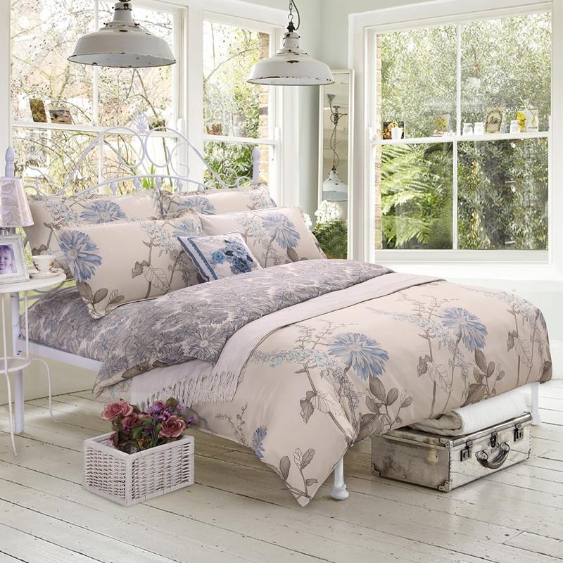 Conjunto de Flores Juego de Cama Textiles Para El hogar ropa de Cama de Algodón