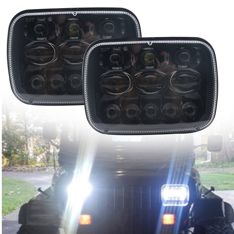 5X7 7X6 inch Rectangular Sealed Beam LED Headlight With Hi/Lo Beam LED for Toyota Tacoma Pickup MR2 Supra Nissan 240SX Pair