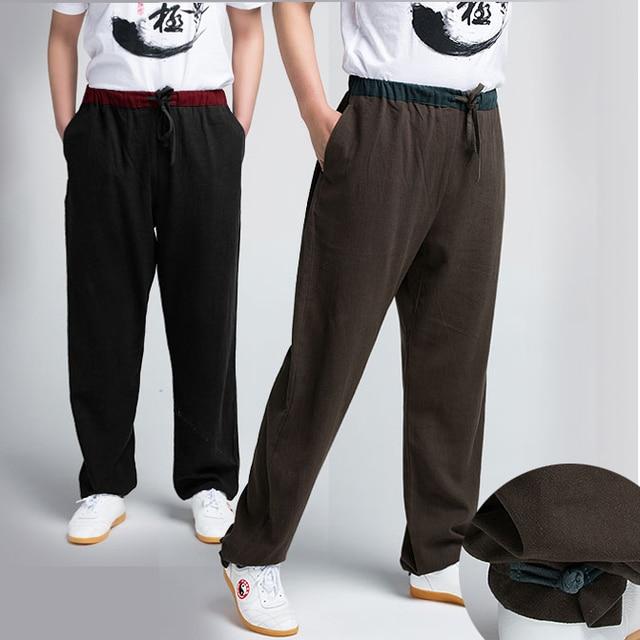 8ac5ed099af0 Di spessore di Lino di Canapa Maschio Tai Chi Pantaloni Donna di Arti  marziali Pantaloni di
