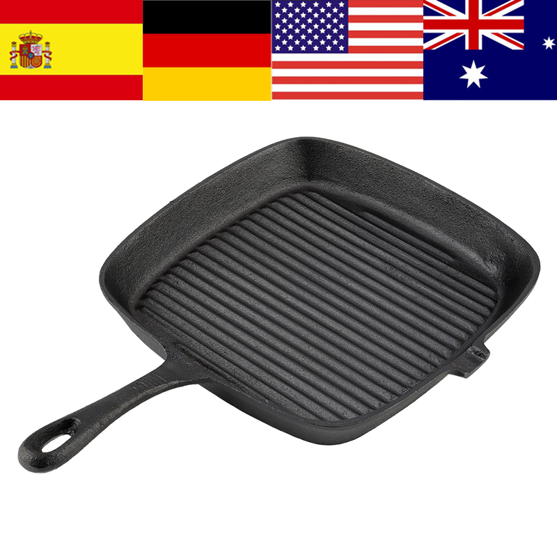 Cast Iron Steak Frying Pan Food Meals Gas Induction Cooker Cooking Pot Kitchen Cookware Suitable For Gas, Induction Cooker