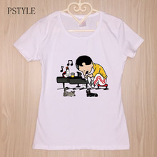 Summer Women's For Tshirt Freddie Mercury Play The Piano Cat Funny T shirts Female Casual White Graphic Tees Mujer Drop Ship(China)