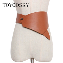 2018 New Designer Women Waist Belts Fashion PU Irregular Solid Camel for Skirt High Quality Female TOYOOSKY