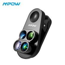 Mpow 4-in-1 HD Camera Dual&Single Phone Lens 0.65X Wide Angle + 10X Macro Lens +160 Degree Fisheye Lens For iphone 8 7 6 6S