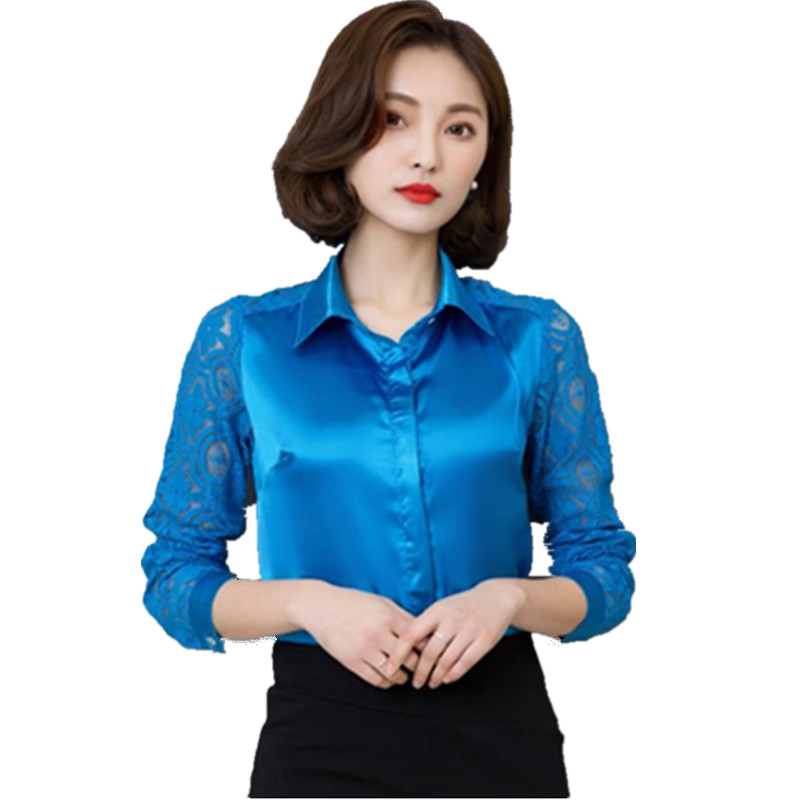 2017 Spring long sleeve lace patchwork chiffon satin women work wear satin  blouses lady formal OL satin tops silk shirts CM842 - Online Get Cheap Ladies Work Blouse -Aliexpress.com Alibaba Group