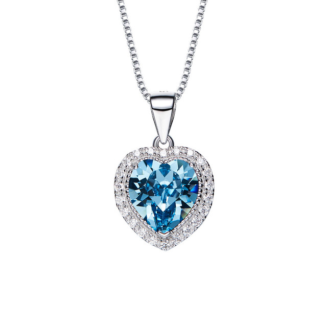 c65a11a4edbd8f love heart march birthstone pendant necklace crystals from SWAROVSKI 925  sterling silver necklaces for girls fine jewelry