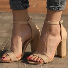 2019 Summer Women Flock Square Heel Sandals High Heels Buckle Strap Female Fashi