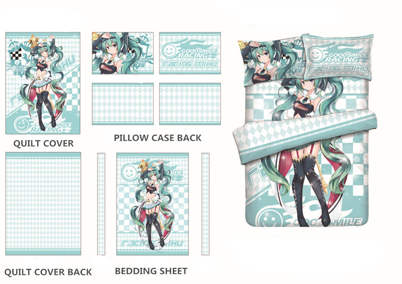 2018 Racing Miku Printing Bedding Set Short Pile Velour Otaku Anime Culture Bed Set 4Pcs Hatsune Miku Bedclothes in Bedding Sets from Home Garden