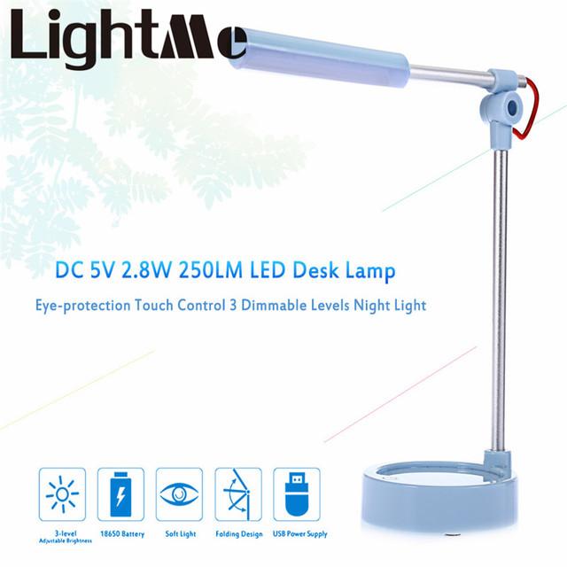 Novo Popular LightMe DC 5 V 2.8 W 250LM 14 LEDs Desk Lamp Eye-proteção Touch Control 3 Regulável os níveis de Luz Da Noite
