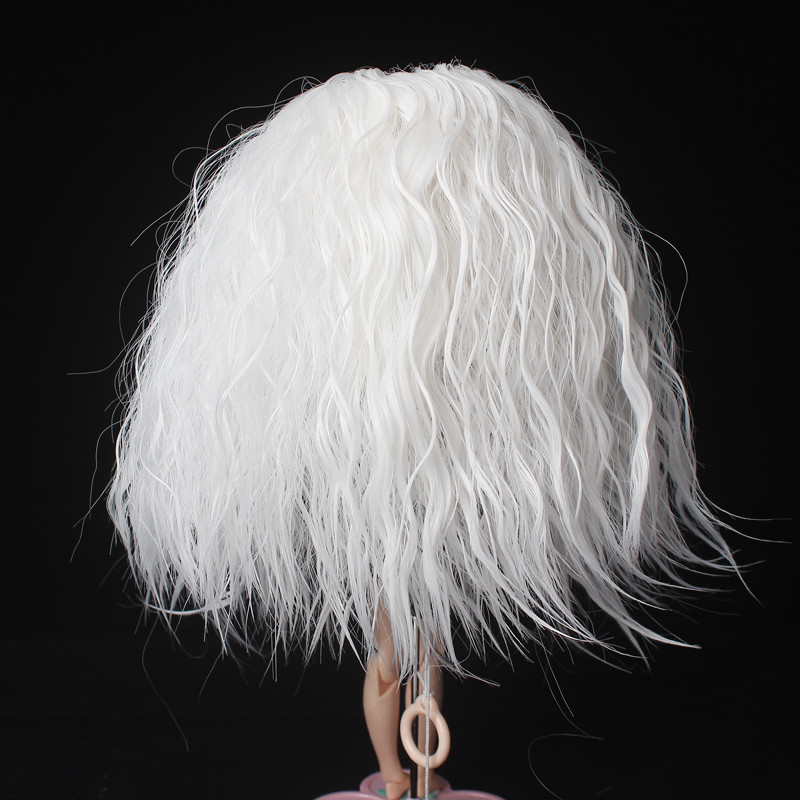 White Afro Wavy Doll Hair Finished Wigs for Bly the Pullip Doll with 25cm Head Circumference in Dolls Accessories from Toys Hobbies