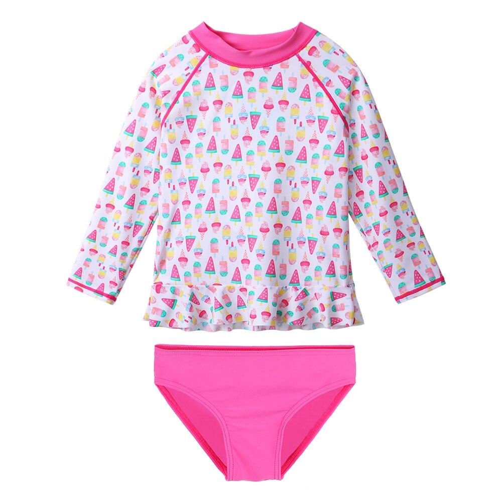 Temperato Baohulu Bambini Costumi Da Bagno A Maniche Lunghe 2 Pcs Delle Ragazze Costumi Da Bagno Gelato Costumi Da Bagno Beachwear Costume Da Bagno Per I Bambini 3-9 Anni Di I Consumatori Prima