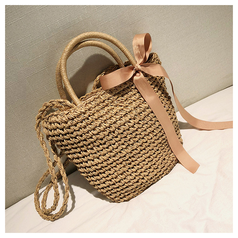 Straw Tote Bag with Rattan Shoulder Strap for Summer 2021