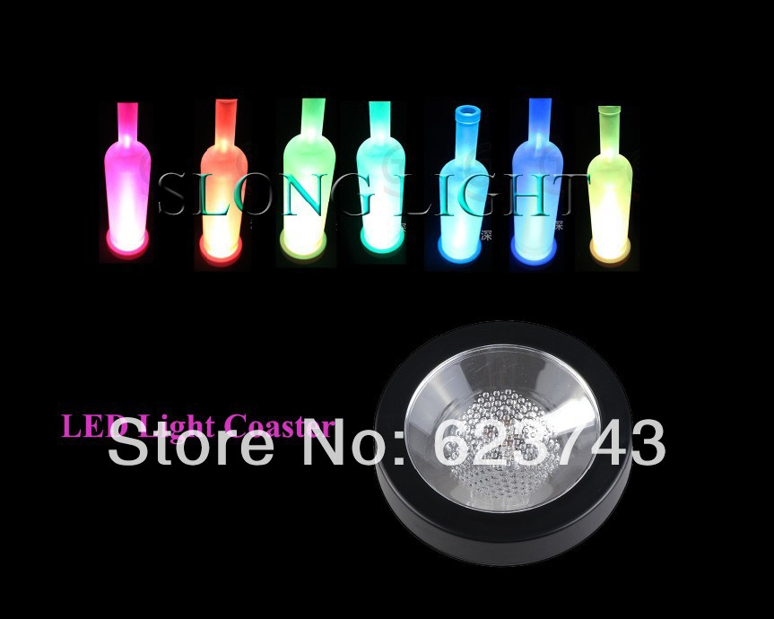 Free shipping 5PCS/Lot Color Changeable LED Light Coaster,Drink Bottle Cup colorful flash LED Coaster,Light up BAR COASTER BLINK