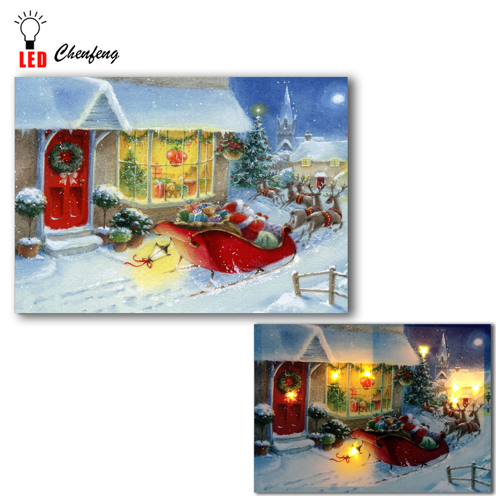 Christmas Led Canvas.Us 14 59 27 Off Led Canvas Printing Wall Decorative Santa Claus Deer Sledge Christmas Gigantic Oil Painting On Canvas Light Up Poster And Print In