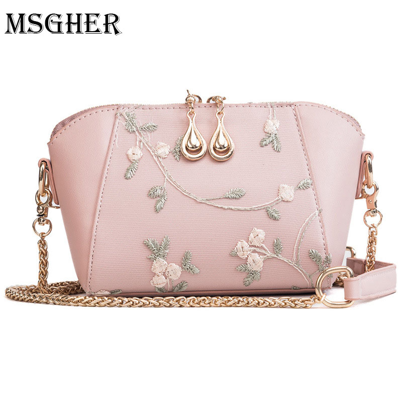 M.S Drop Of Water Zippers Women Shell Bags 2018 Summer Flower Embroidery Shoulder Bags Cute Mesh Crossbody Small Bags WB707