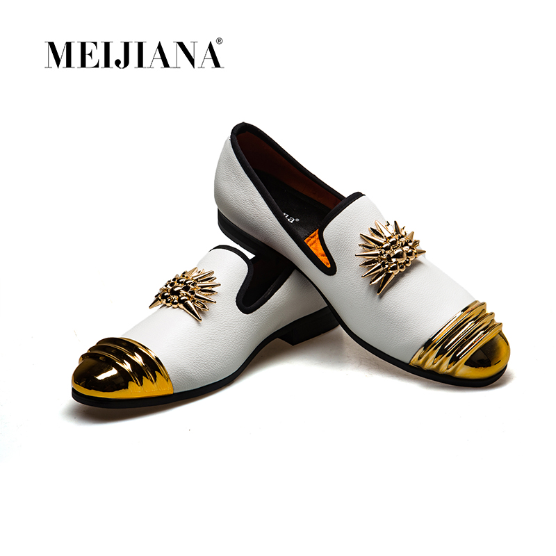 MeiJiaNa 2019 Brand New Luxury Men Loafer Patchwork Of Genuine Leather And Horsehair Round Toe Slip