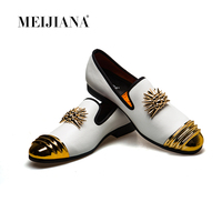 MeiJiaNa 2019 Brand New Luxury Men Loafer Patchwork Of Genuine Leather And Horsehair Round Toe Slip On Dress Shoes