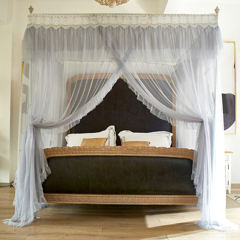 Romantic Princess gray Lace Canopy Mosquito Net with Frame for Twin Full Queen King Bed Mosquito