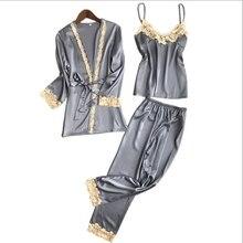2018 New Three Piece Female Silk Pajamas women Sets Robe Sling Pajamas Sexy Long Sleeved Pants