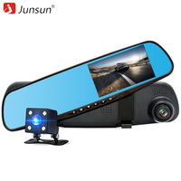 Junsun Car DVR Dual Camera Full HD 1080P Video Recorder Rearview Mirror With Rear View Automobile