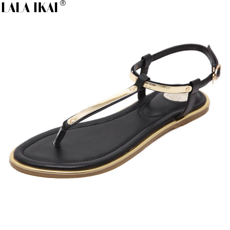 LALA IKAI Women Summer Sandals Flip Flops Flat Heel Sandals Sequined Decoration Antiskid Ankle Strap Beach Shoes XWF0434-5