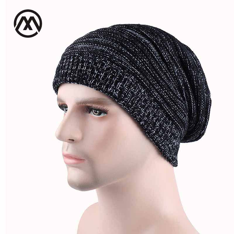 Stripe Baggy Cap Beanies Winter Hats For Men Women Warm Wool Fold Cap Blending Slouch Crochet Knit Hat For Women Baggy Skullies 2017 winter women beanie skullies men hiphop hats knitted hat baggy crochet cap bonnets femme en laine homme gorros de lana