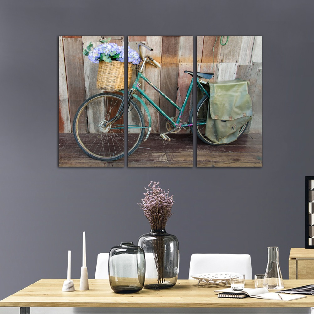 selling art canvas painting bicycle car street 3 piece HD print wall picture for room decoration retro style poster no framed