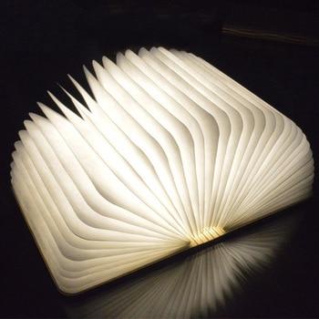 Nowy kreatywny drewna składany stron doprowadziły książka kształt noc światła lampa oświetleniowa przenośne Booklight USB akumulator