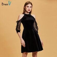 Dressv черное коктейльное платье, недорогое ТРАПЕЦИЕВИДНОЕ платье без рукавов на молнии, платье на выпускной вечер, элегантное модное коктейльное платье