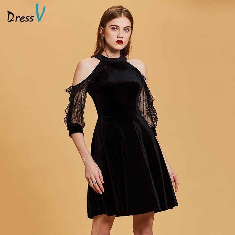 Dressv black   cocktail     dress   cheap scoop neck a line sleeveless zipper up graduation party   dress   elegant fashion   cocktail     dress