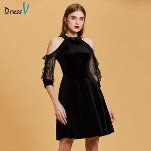Image 1 - Dressv nero vestito da cocktail a buon mercato scoop neck una linea senza maniche zipper up abiti di laurea vestito da partito elegante vestito da cocktail di modo