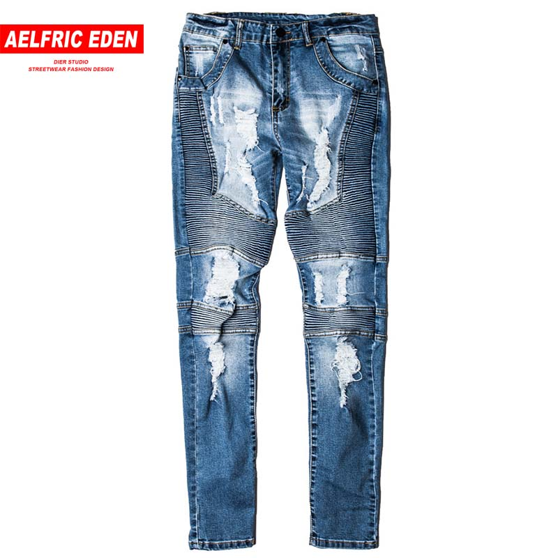 Aelfric Eden Men Jeans Skinny Ripped Hole High Street Pants 2018 Destroyed Casual Trousers Hip Hop Blue Denim Streetwear St21 Suitable For Men, Women, And Children