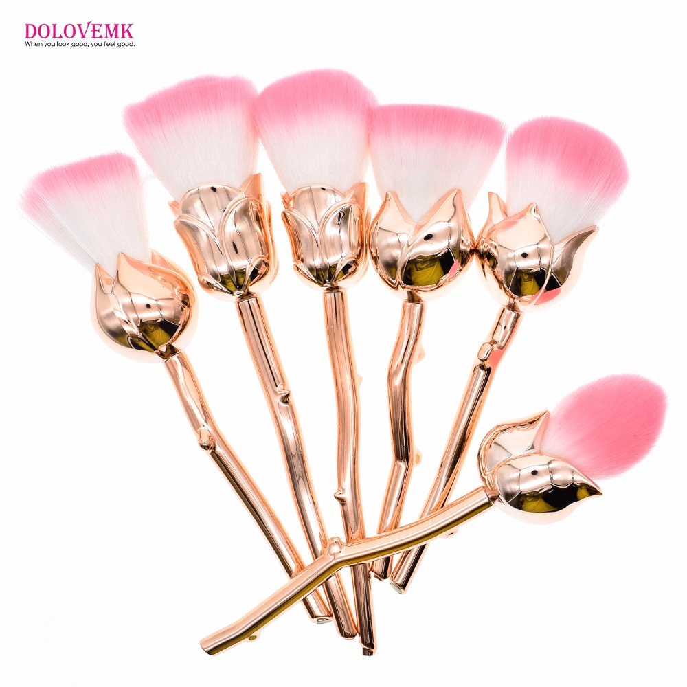 New 6pcs Rose Shape Gold Pro Makeup Brushes Foundation Powder Make Up Brushes Set Beauty Blush Brush Pincel Maquiagem jessup 5pcs black gold makeup brushes sets high quality beauty kits kabuki foundation powder blush make up brush cosmetics tool