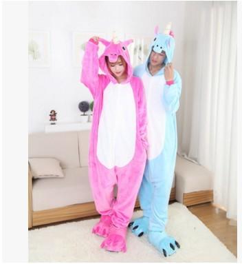 free pp Christmas Halloween Blue/Pink Candy Unicorn Onesie Carnival Costumes for Adults Women Men Fleece Party Pajamas Sleepwear