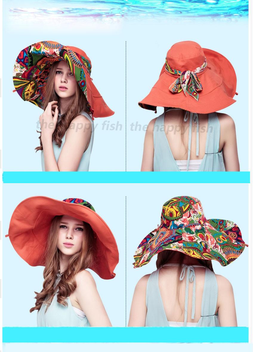 Bohemian Style! Hats Sun Hats For Women Summer Hat For Women Large Sun Hat Beach Hat chapeu femme feminino Flower printed (5)