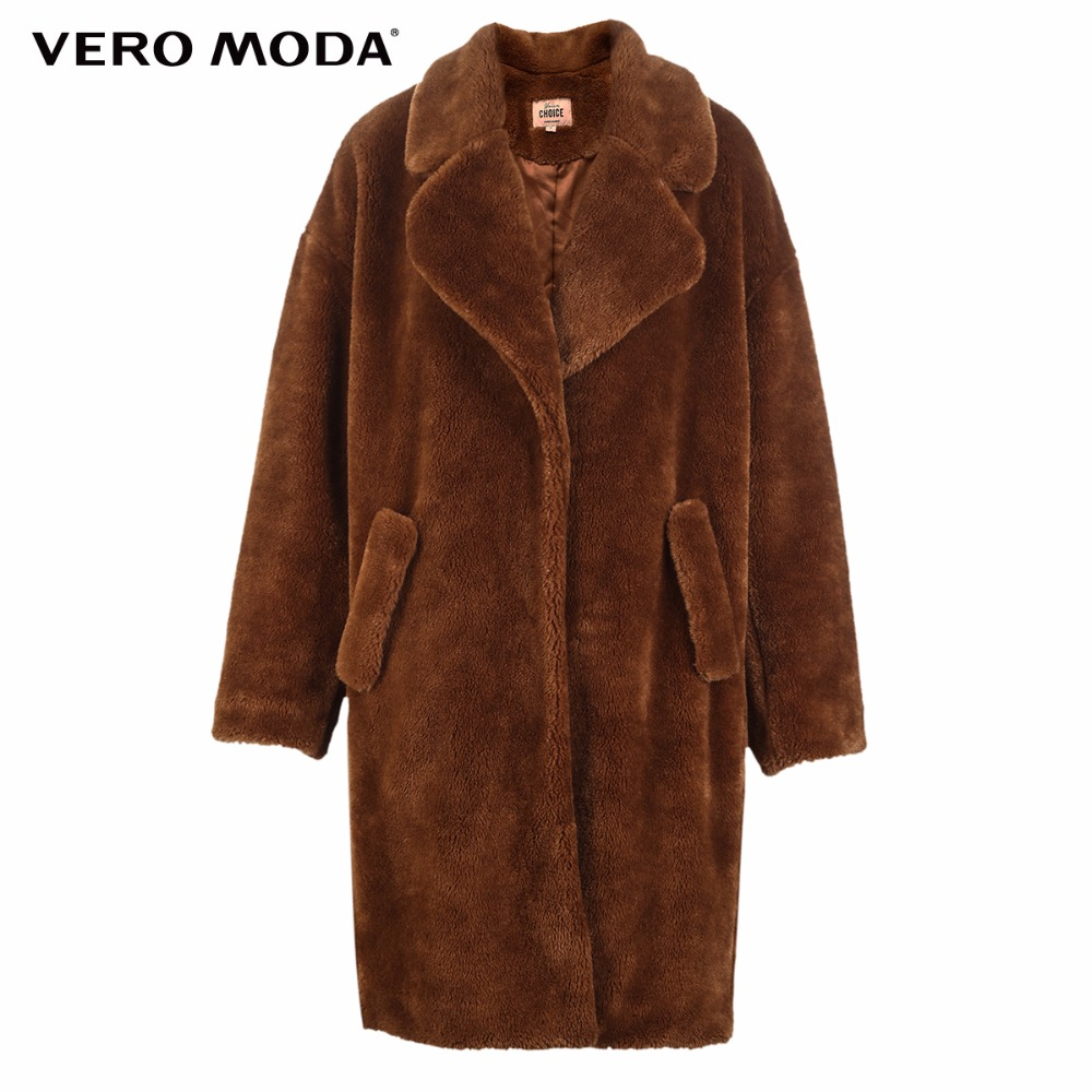 Vero Moda lapel drop shoulder long teddy bear winter coat jacket 318309503 in Trench from Women 39 s Clothing